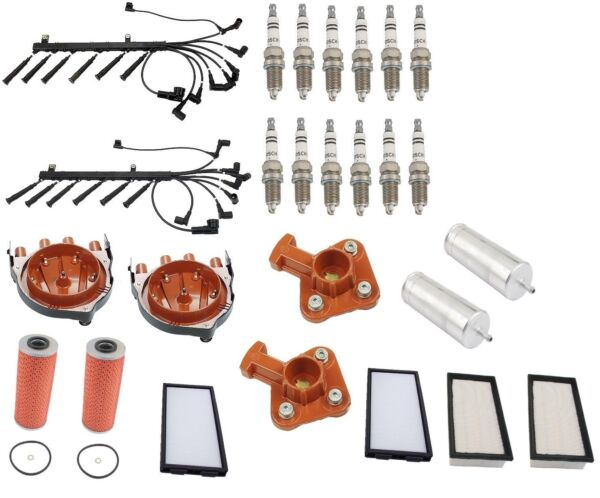 For BMW E32 750iL 690-94 Tune Up Kit Air Cabin Fuel Oil Filters Plugs Wire Set