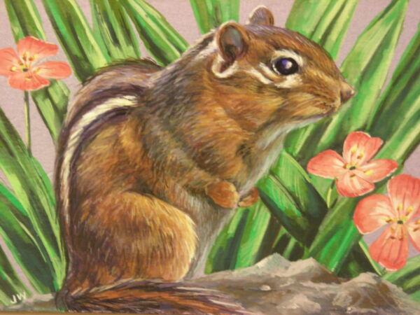 Chipmunk animal wildlife print of painting