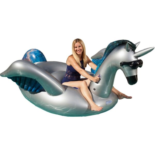 GAME Giant Inflatable Ride-On Mystique Alicorn Unicorn Pool Float w Cup Holders