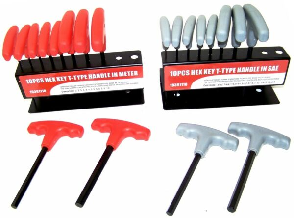 20 pc T Handle Type Hex Key Wrench Set Standard and Metric Sizes Allen Wrench