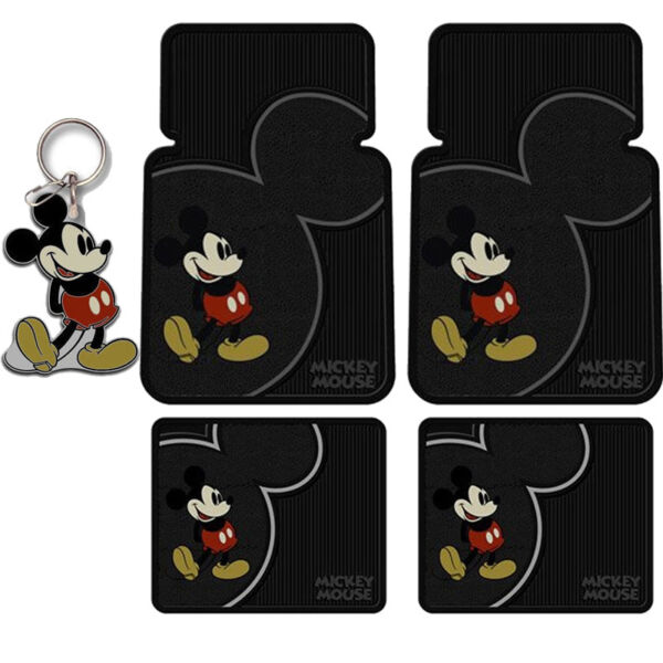 New Disney Mickey Mouse Classic Vintage Car Suv Truck Rubber Floor Mat Keychain