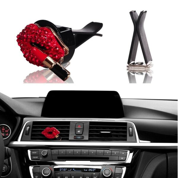 Bling Bling Car Accessories Interior Decoration for Girls women - Red Lipstick