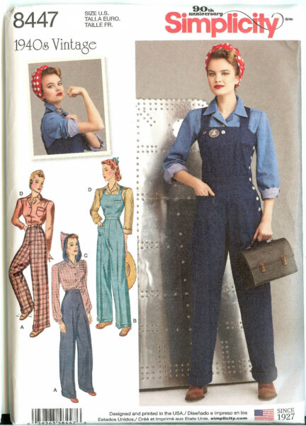 Vintage Retro 40s Simplicity Pattern 8447 New Rosie the Riveter Overalls +