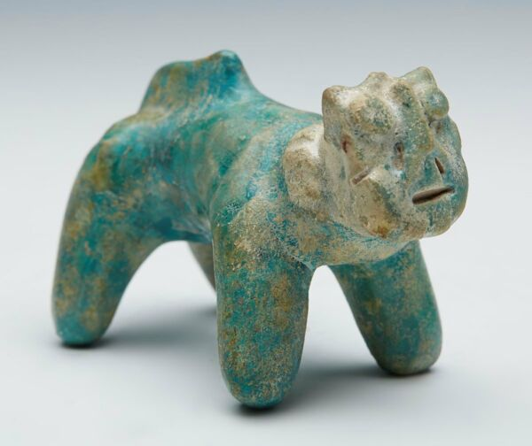 KASHAN TURQUOISE GLAZED POTTERY CAT FIGURE 1213TH C.