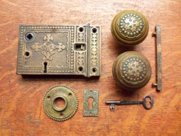 Antique Ornate Rim or Box Lock Door Set