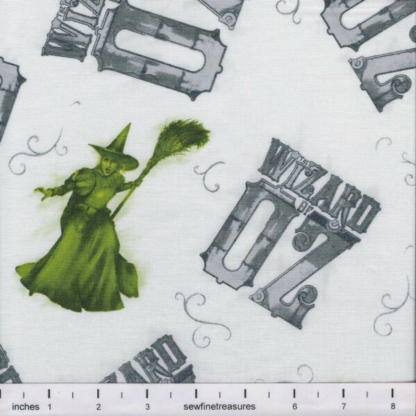 Wizard of Oz 75 Years Wickedness WITCH TOSS on WHITE Fabric By the FQ 14 YD  $4.99