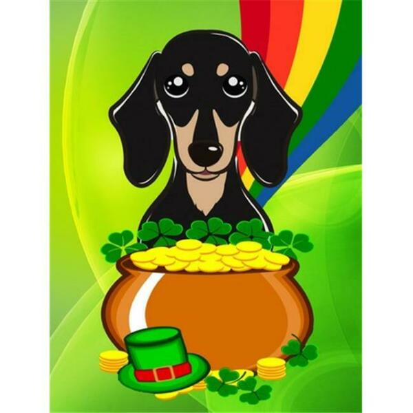 Smooth Black and Tan Dachshund St. Patricks Day Canvas House Flag