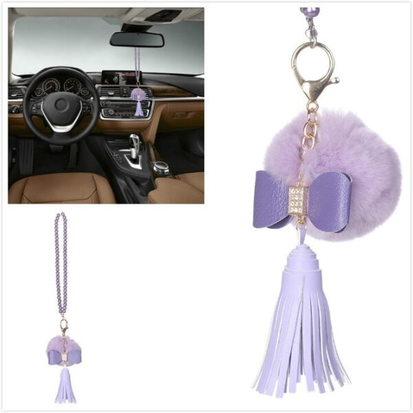 Purple Car Bling Accessories Mirror Hanging Diamond Crystal Bow for Girls Women