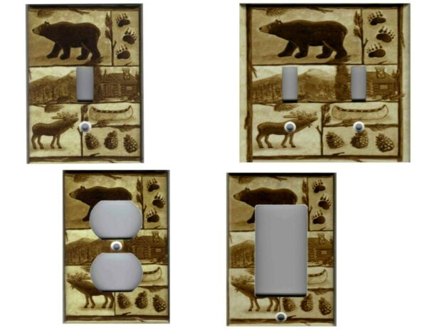BEAR MOOSE CABIN RUSTIC BROWN HOME DECOR LIGHT SWITCH COVER PLATES AND OUTLETS