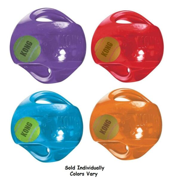 Medium Dog Toy Jumbler Ball Shape Tennis Ball inside 2-in-1 Squeaker Colors Vary