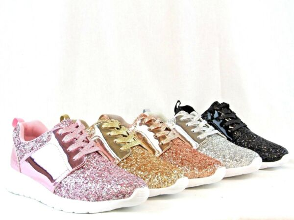 Women Lightweight Jogger Sneaker Glitter Quilted Lace Up Shoes Tow Tone Design