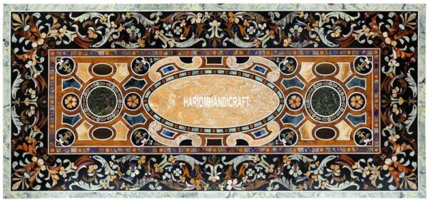 8'x5' Dining Room Table With Marble Top Exclusive Scagliola Inlaid Decor H3868