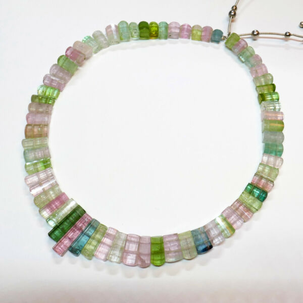 192CT Afghani Faceted Old Stock Tourmaline Crystal Bead 14 inch strand