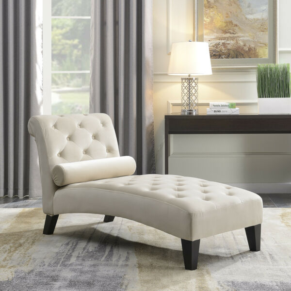 Leisure Sofa Chair Chaise Lounge Couch Button Living Room Lumber Tufted Beige