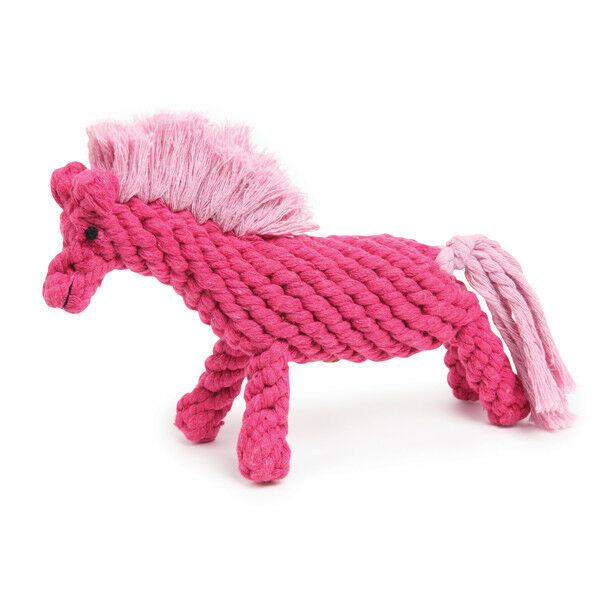 Dog Chew Toys Pink Horse Shaped Cute Durable Tight Wound Cotton Rope 10 12