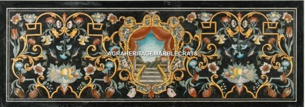 8'x4' Marble Restaurant Table Marquetry Beautiful Inlay Antique Arts Decor H5266