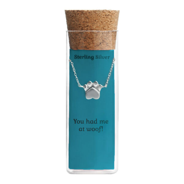 Kohl#x27;s Fashion Sterling Silver Dog Paw You had me at Woof Pendant Necklace New $7.99