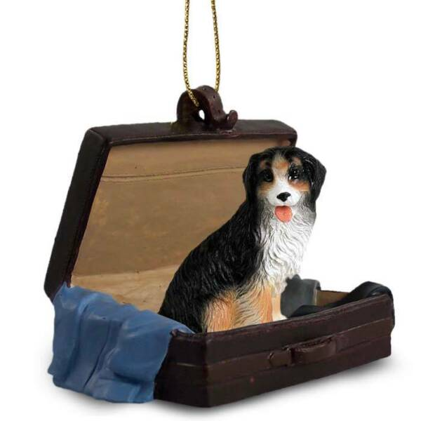 Bernese Mountain Dog Traveling Companion Dog Figurine In Suit Case Ornament $16.99