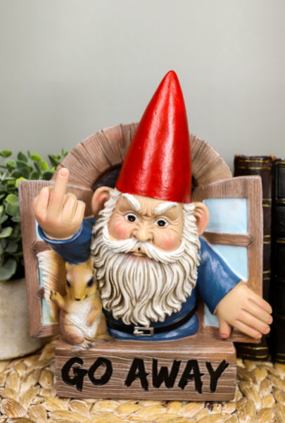 quot;Go Awayquot; Rude Gnome And Squirrel At The Window Flipping Off Wall Decor Figurine $30.99