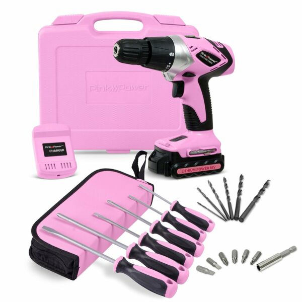 Pink Power PP181LI 18 Volt Lithium-Ion Cordless Electric Drill Kit