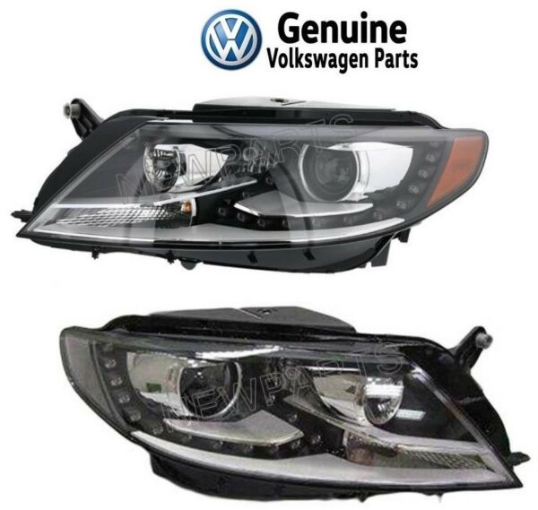 For VW CC 12-16 Pair Set of Left & Right Headlight Assemblies Xenon OEM Genuine