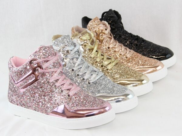 Women High Top Fashion Ankle Boot Tow Tone Shiny Sequin Glitter Sneakers Shoes