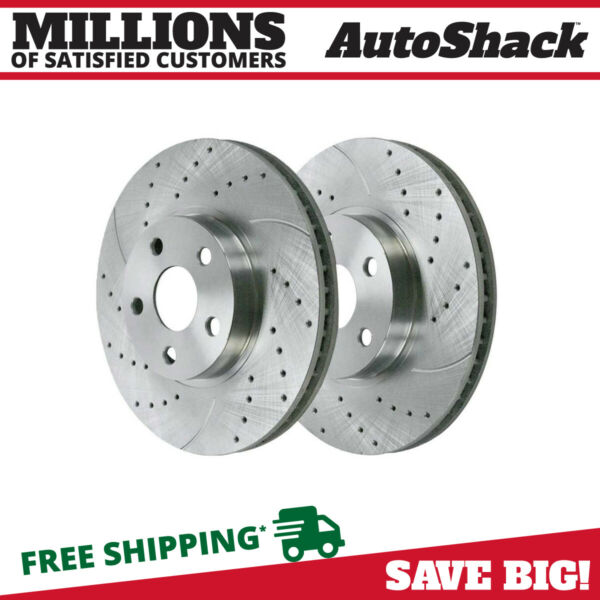 Front Drilled Slotted Performance Rotors Pair (2) For 03-08 Toyota Corolla 96934