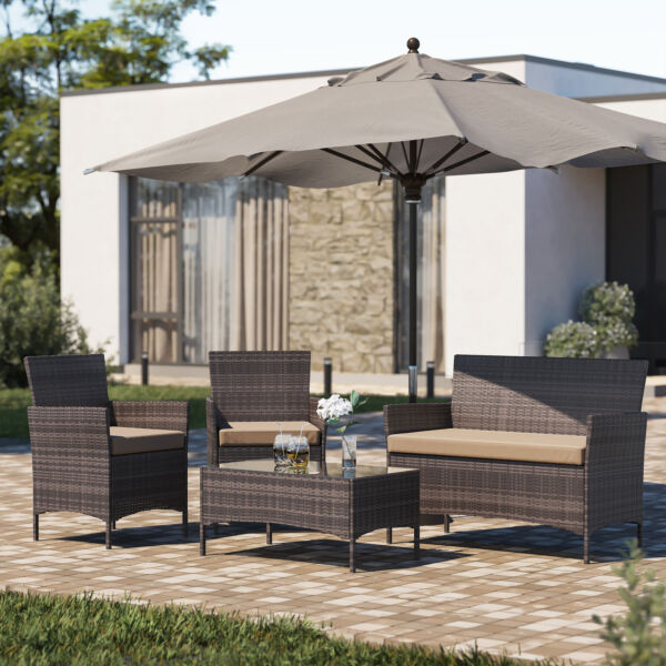 4PC Patio Rattan Wicker Chair Sofa Table Set Patio Garden Furniture with Cushion $229.99