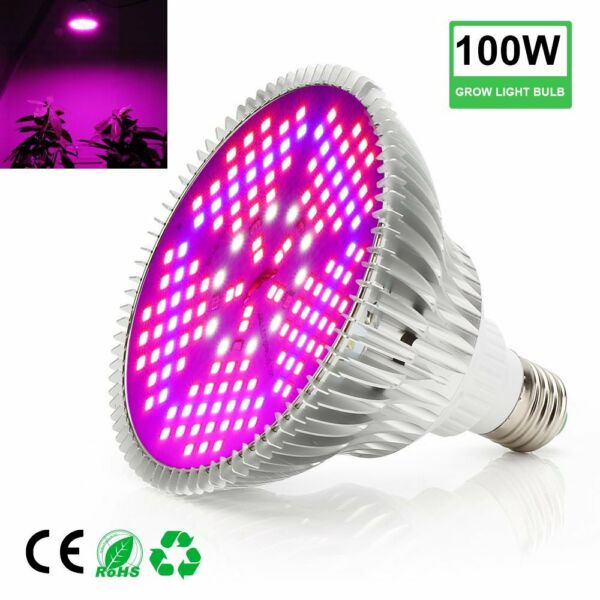 100W Full Spectrum E27 Led Grow Light Plants Growing Light Lamp Bulb Indoor Veg