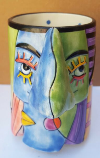 Muzeum Museum Ceramic Cup Mug Coffee Tea Big Nose Colorful Face Man Woman Britto