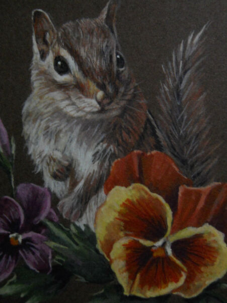 ACEO  Chipmunk animal wildlife Mum print of Painting