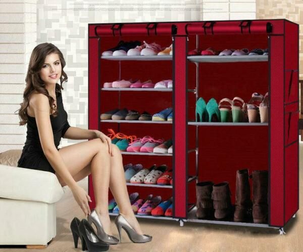 Double Row 6 Tier 9 Grid Shoe Boot Tower Rack Organizer Storage Cabinet w Cover