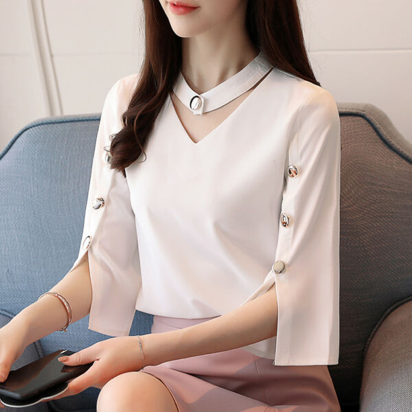 Women V Neck Buttons Chiffon Blouse Flared Short Sleeeve Elegant OL Shirt Tops