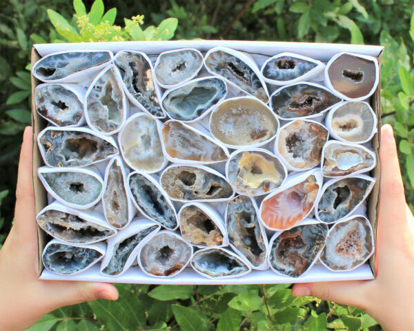 Bulk LARGE Oco Agate Geodes (5 - 6 Lot Box) Natural Crystal Druzy Halves