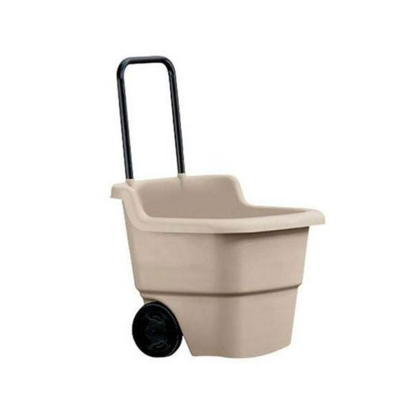 Suncast 15 Gallon Capacity Poly Multipurpose Rolling Lawn and Garden Cart Taupe