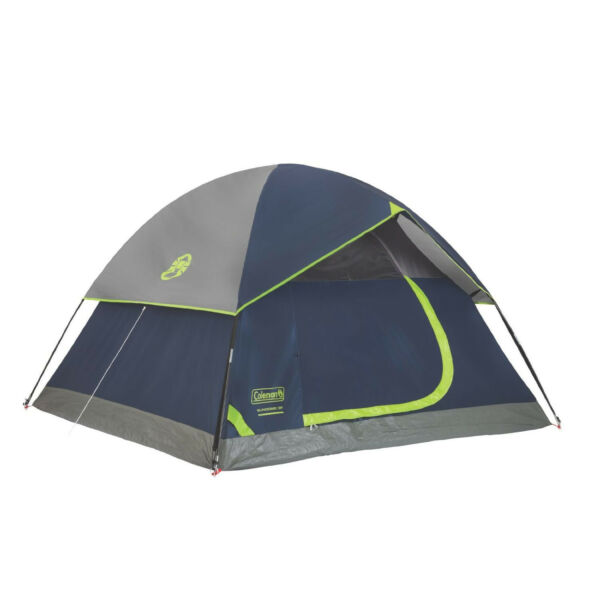 Coleman Sundome 3 Person Dome Camping Tent with Bag, Blue and Gray | 2000024580