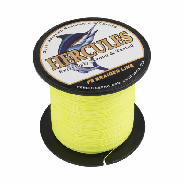 Hercules Fluorescent Yellow 100-2000m 6lb-300lb 4 8 Strands Braided Fishing Line