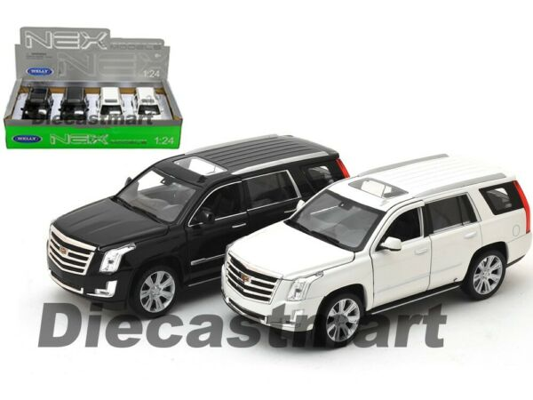 WELLY 24084 2017 CADILLAC ESCALADE SUV 1:24 DIECAST MODEL CAR BLACK / WHITE
