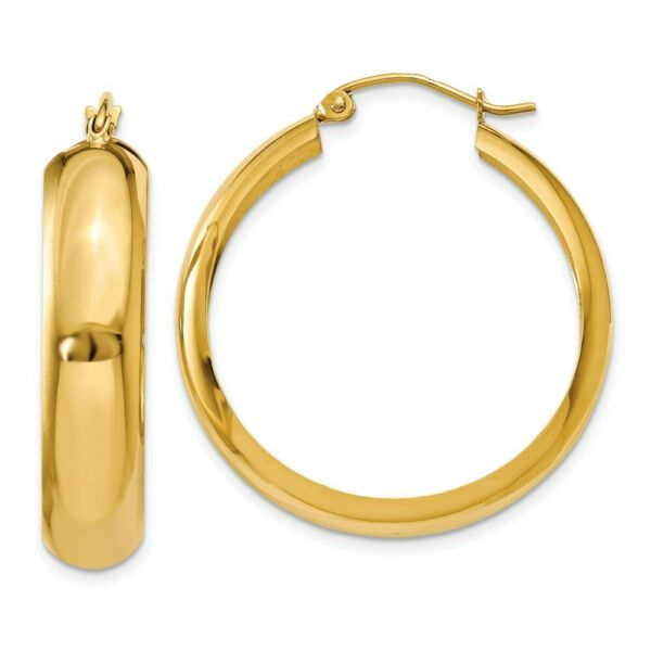 7mm 14k Yellow Gold Half Round Hoop Earrings 30mm (1 18 Inch)