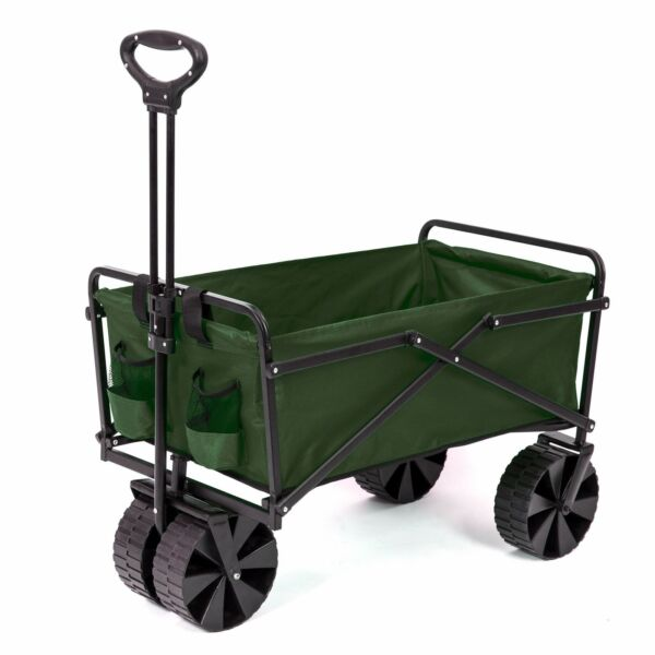 Seina Collapsible Steel Frame Folding Utility Beach Wagon Outdoor Cart Green