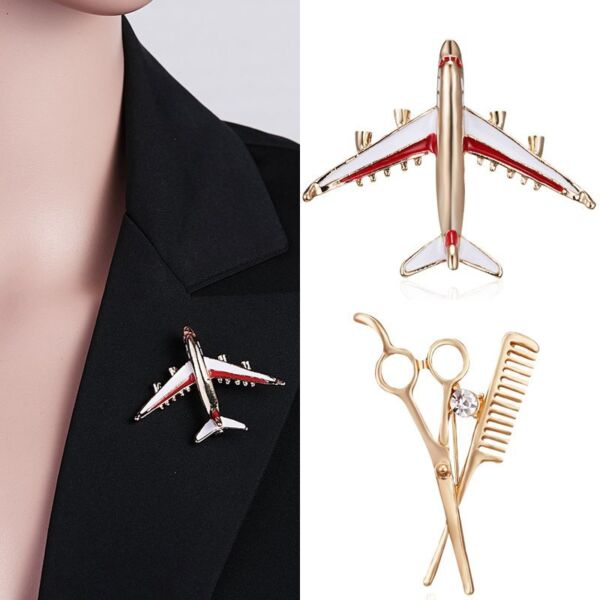 Fashion Little Airplane Brooches Pin Fighter Aircraft Model Women Men Jewelry