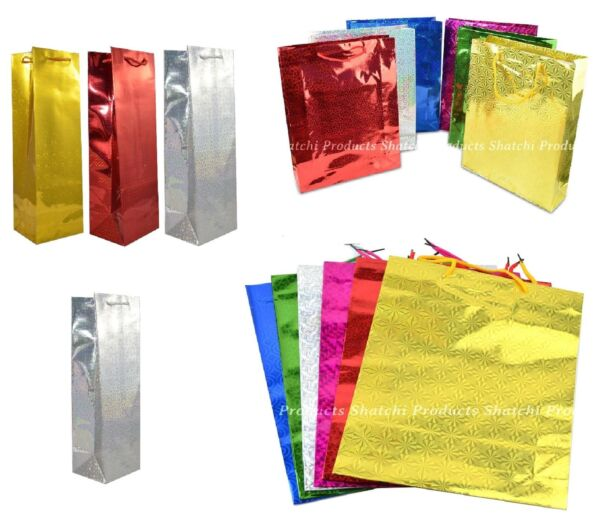 Wine Gift Bags Holographic Paper Foil Wedding Birthday Presents Christmas Bulk