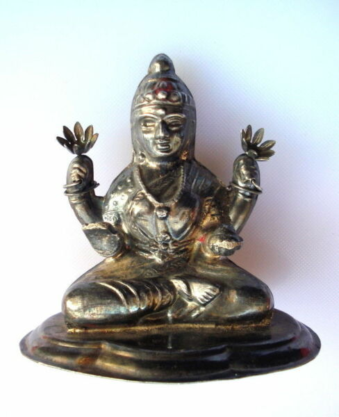 vintage antique collectible old sterling silver goddess laxmi statue idol hindu