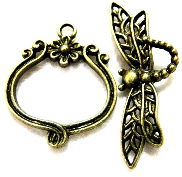 5Sets Tibetan Antique Bronze DRAGONFLY Toggle Clasps Connectors Findings C030
