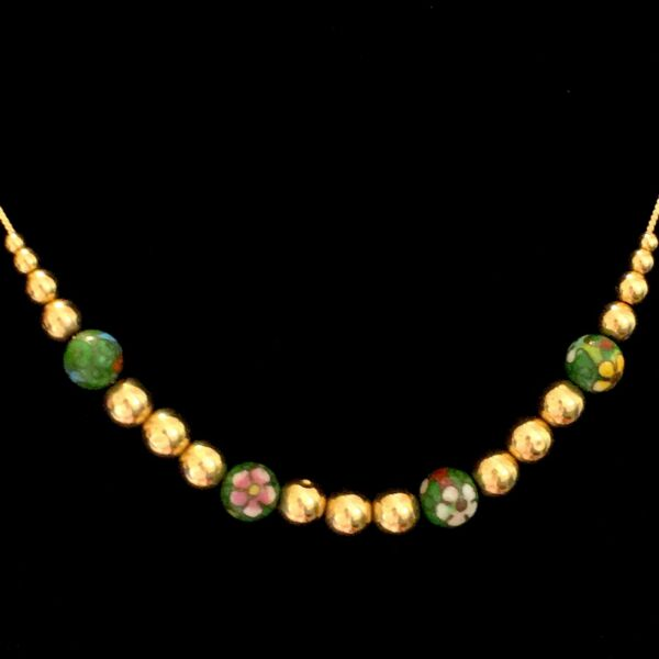 """Beautiful Vintage 14K Green Cloisonné amp; Gold Bead Necklace 20"""" Beaded Chain"""