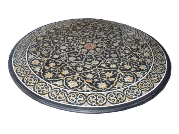 Black Faux Marble Dining Table Top  Mother of Pearl Inlaid Outdoor Garden Decor