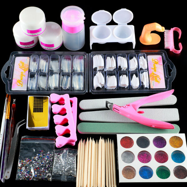 DIY Acrylic Nail Kit Acrylic Powder Manicure Set Nail Art Care Kit Brush Pump