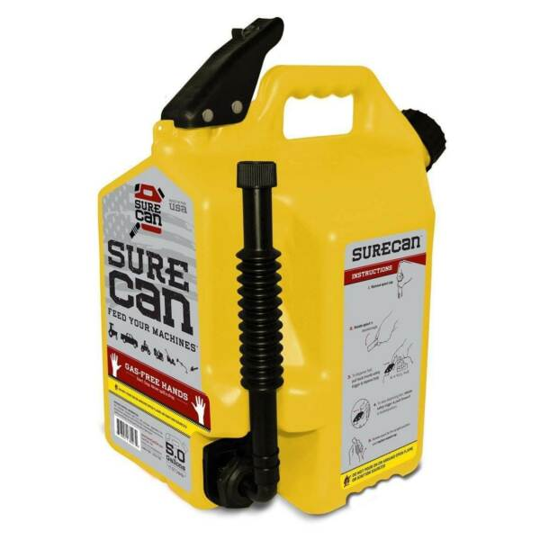 SureCan 5 Gallon 19 Liter Self Venting Diesel Fuel Can w Rotating Spout Yellow $53.89