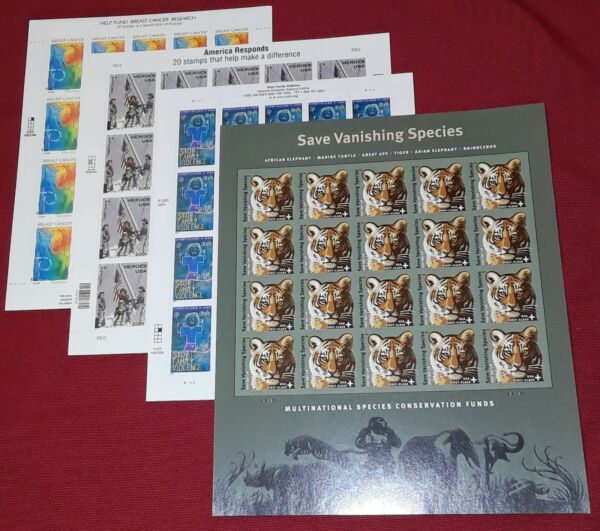 First 4 US Semi-Postal US PS Stamps B1 B2 B3 and B4 in full sheets of 20 each