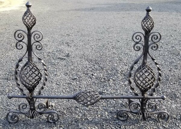 THE BEST ANTIQUE HAND FORGED ANDIRONS SET WITH BAR